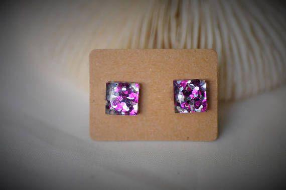 RESIN Earring Gem SQUARE Earring Purple / Silver Hexagon