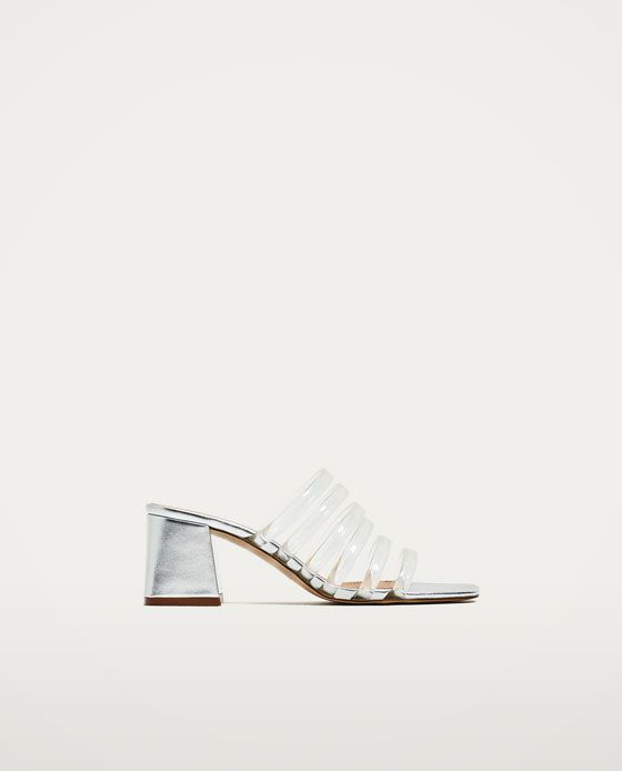 7b1ec8d94ae5 Image 2 of SILVER-TONED MULES WITH VINYL STRAPS from Zara