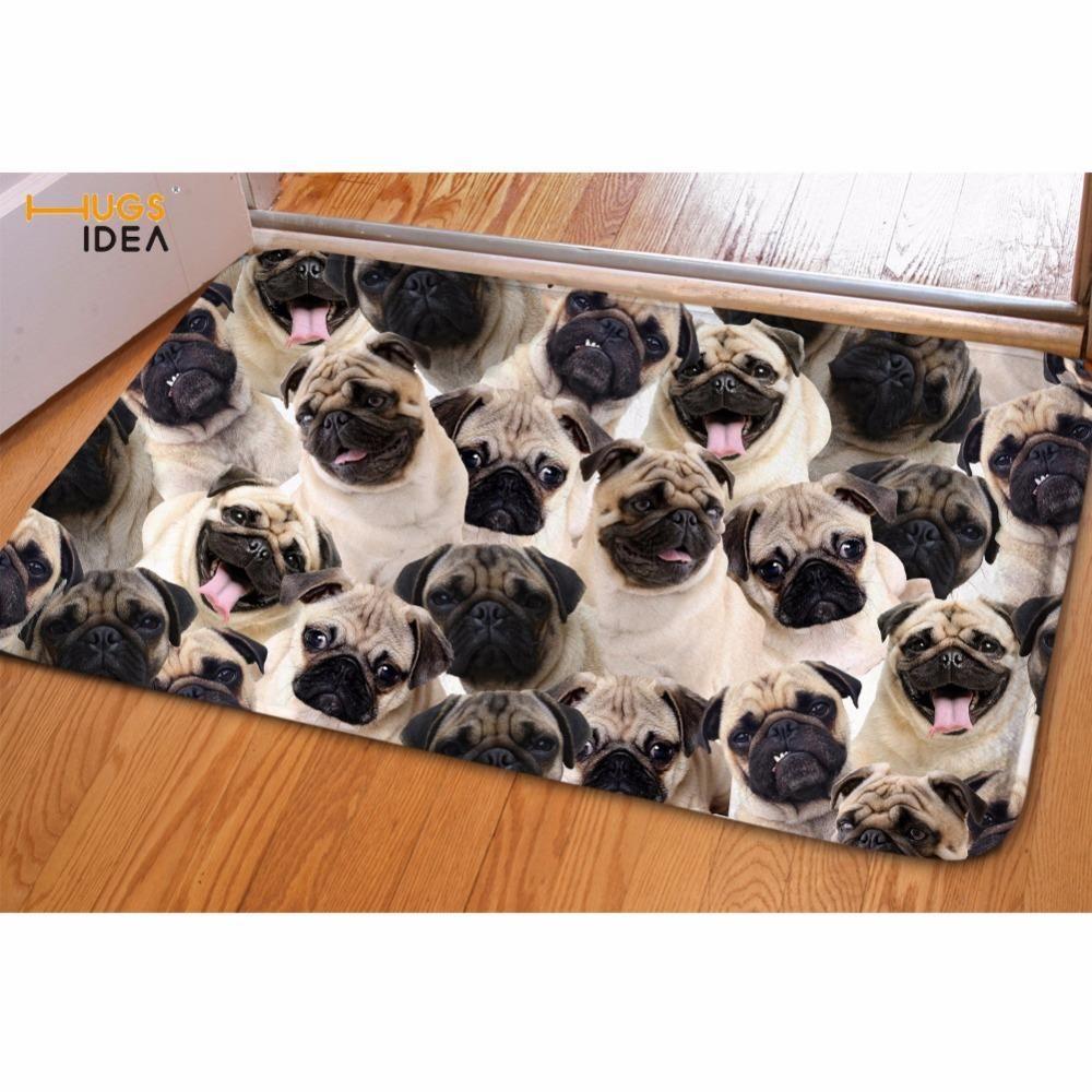 HUGSIDEA Pug Dog Printed Balcony Carpet Flannel Bathroom Doorway Non Slip  Mat Front Door Welcome