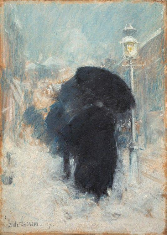 A New York Blizzard - Childe Hassam, 1890. Isabella Stewart Gardner Museum/ Fenway Court, Boston, MA http://www.gardnermuseum.org/home