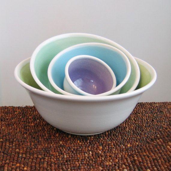Ceramic Nesting Bowls Wedding Gift Stoneware Pottery | Ceramics ...