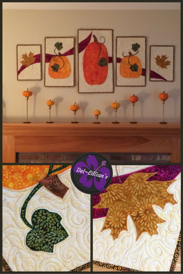 Fall Pentaptych, Fall Wall Hanging, Quiltsy Handmade, Wall Art, Fiber Art,  Quilted Wall Hanging, Art Quilt, Modern Quilt, Fall Decorating