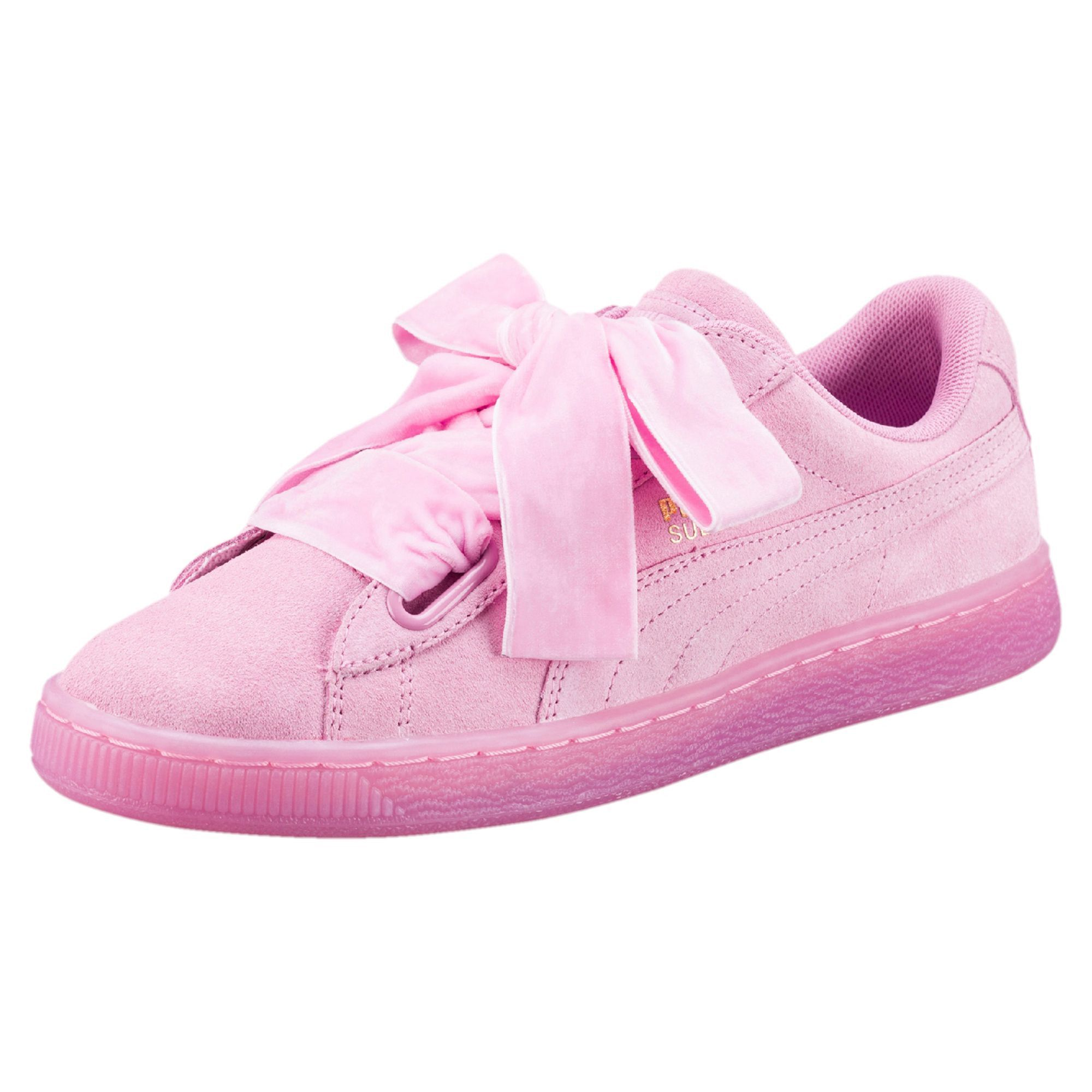 Discount Puma Prism Pink Suede Heart Suede Trainers for Women Sale