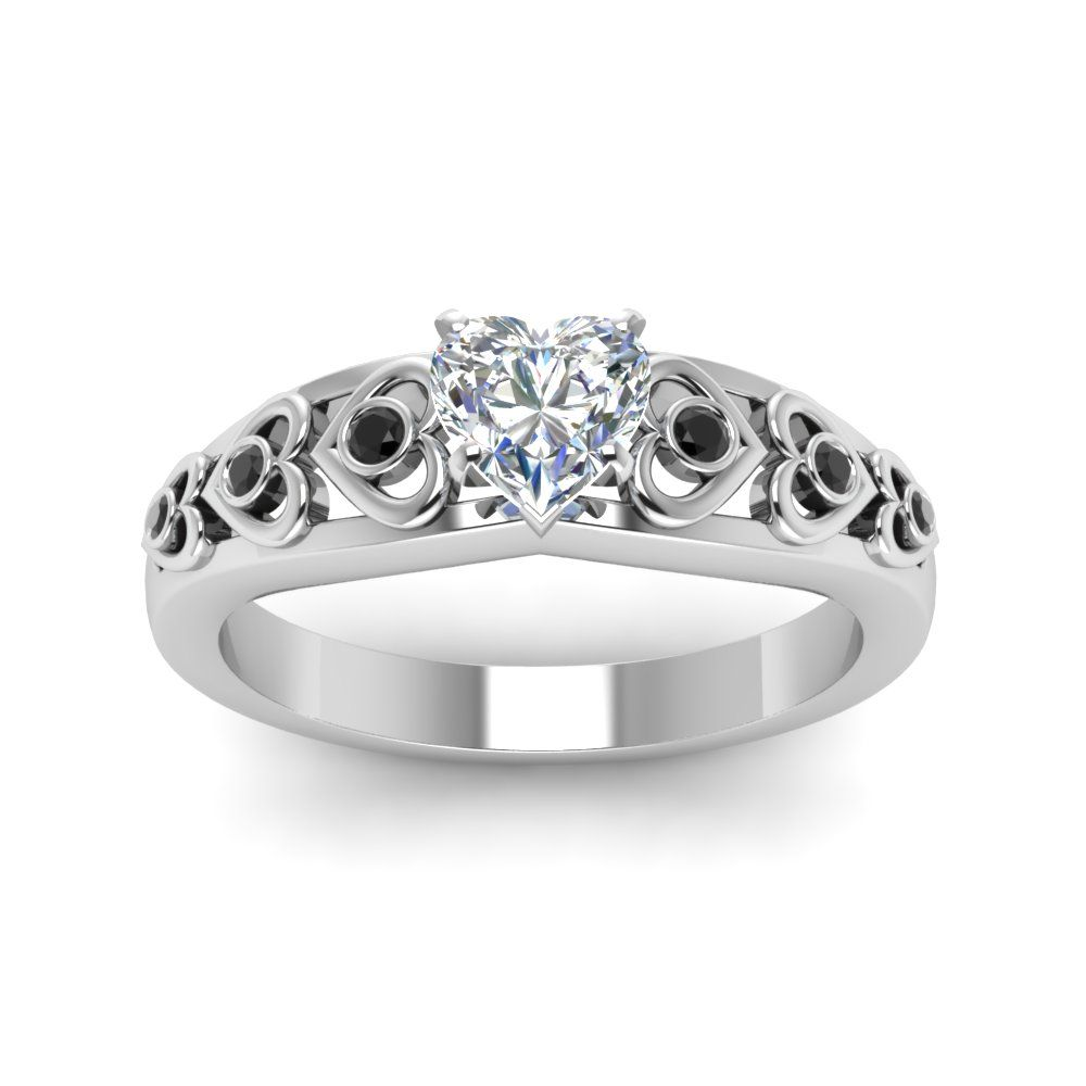 Heart Design Accent Side Stone Engagement Rings with Black Diamond in 18K White Gold exclusively styled by Fascinating Diamonds