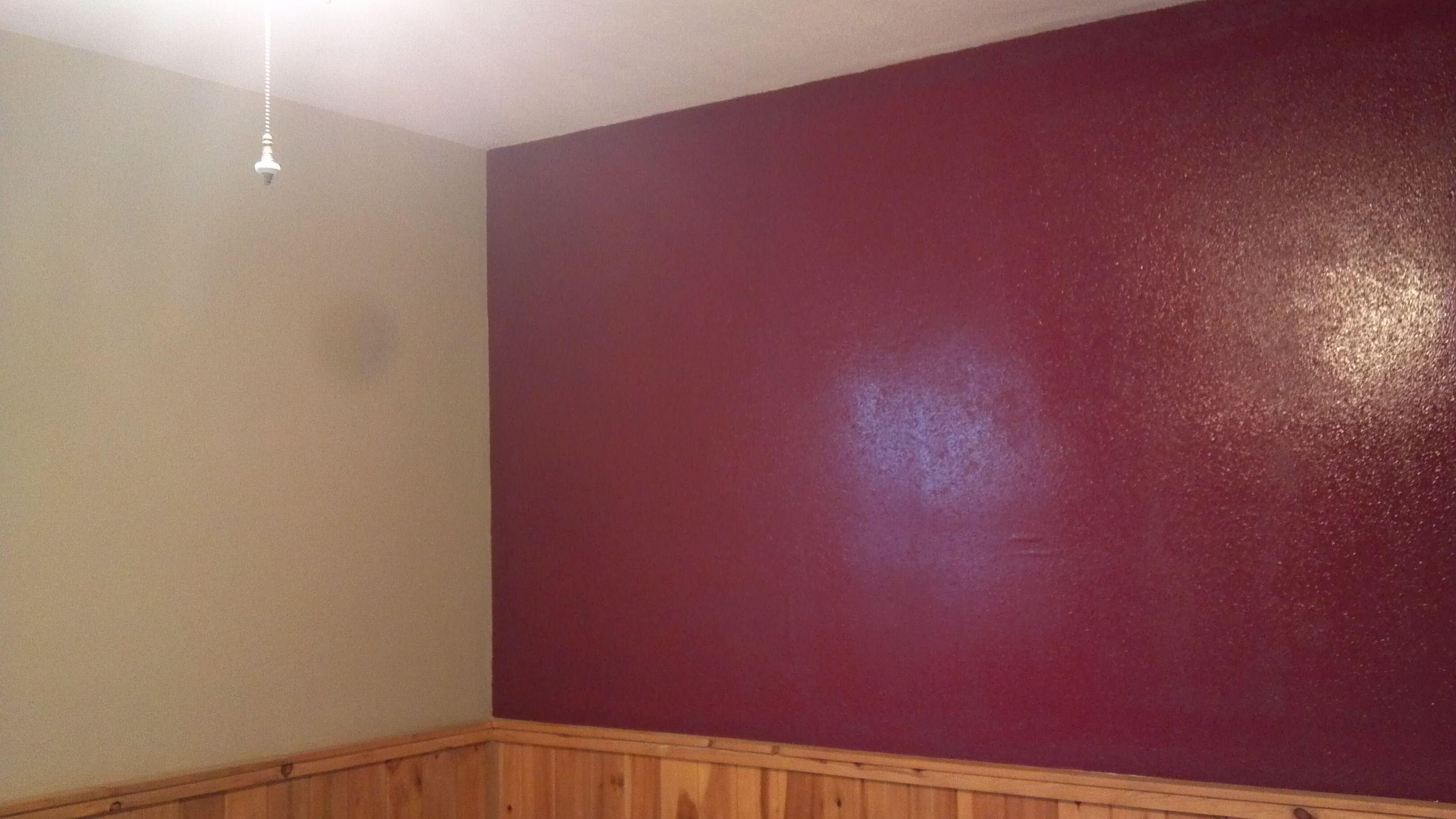 Large Basement Bedroom Repainted Khaki With Burgundy