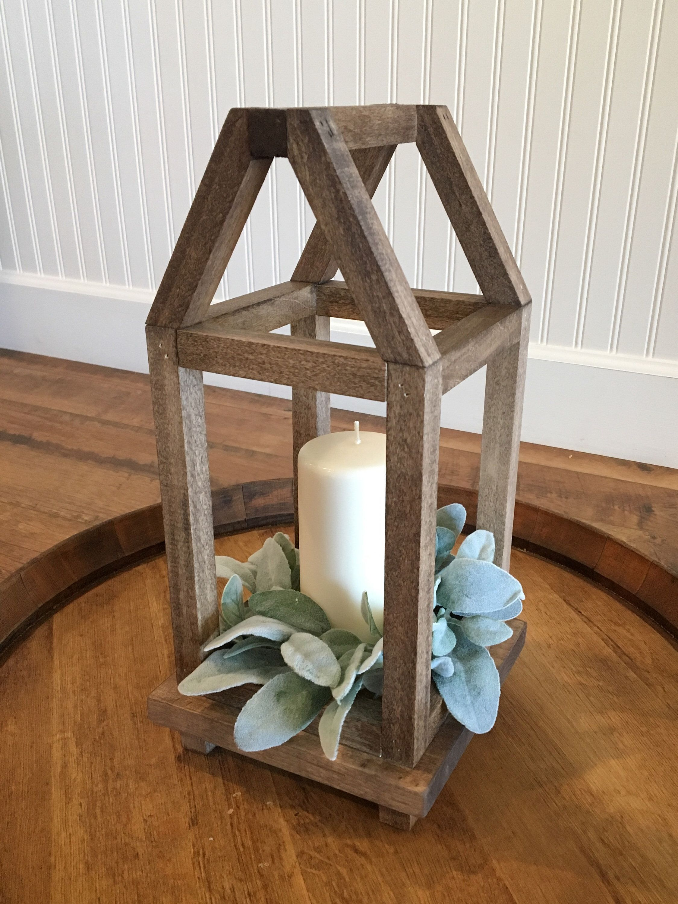 Wood lantern centerpiece with framed rooftop farmhouse style | Etsy