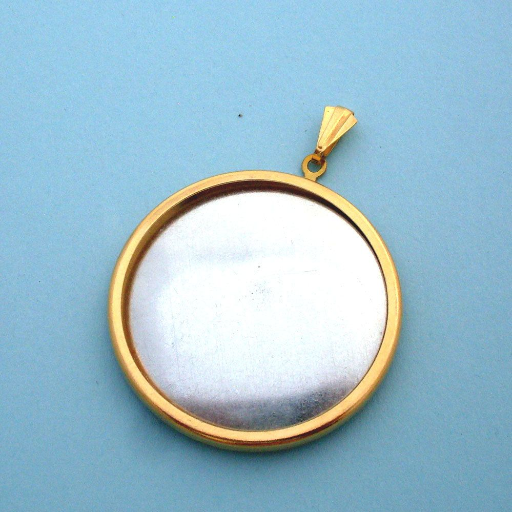 Gold Round Pendant Setting Frame Mounting 125GT from Kailea on Etsy Studio