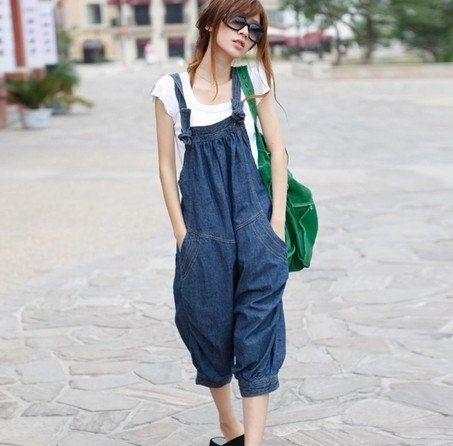 Denim blue  Pants Casual Loose Fitting Linen Suspender Slacks Overall jeans  for Women C178 on Etsy, $54.16 CAD