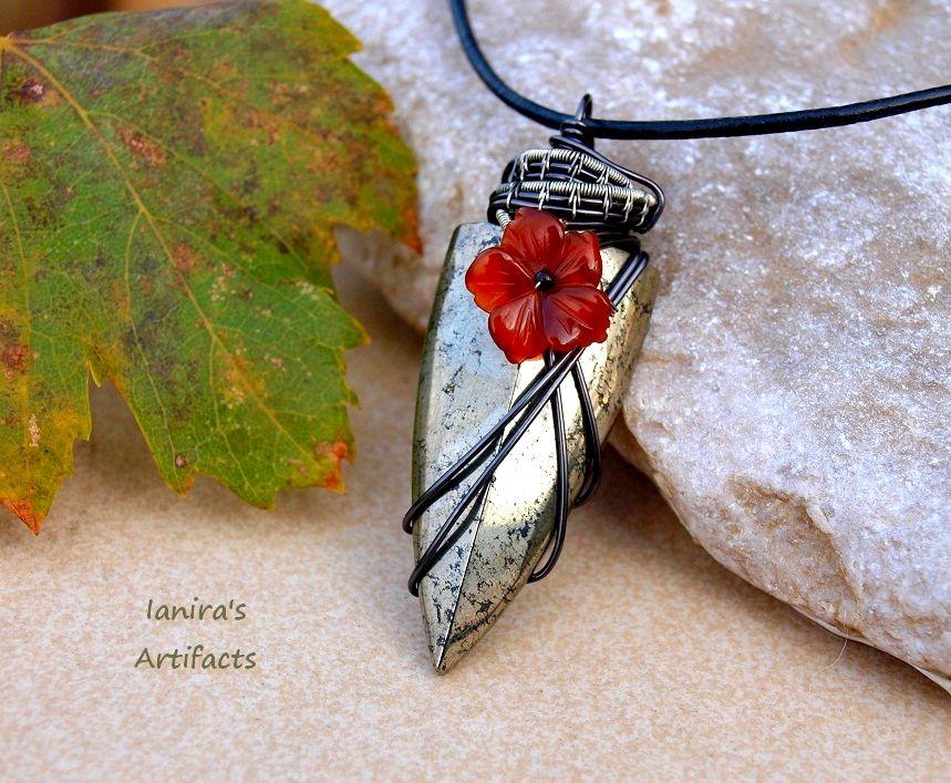 Pyritearrowheadwirewrappedpendantbyianirasartifacts pyrite arrowhead wire wrapped pendant with red agate by ianira aloadofball Image collections