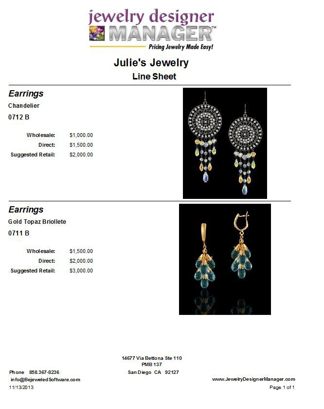Jewelry Making Software with Line Sheets to help you sell jewelry