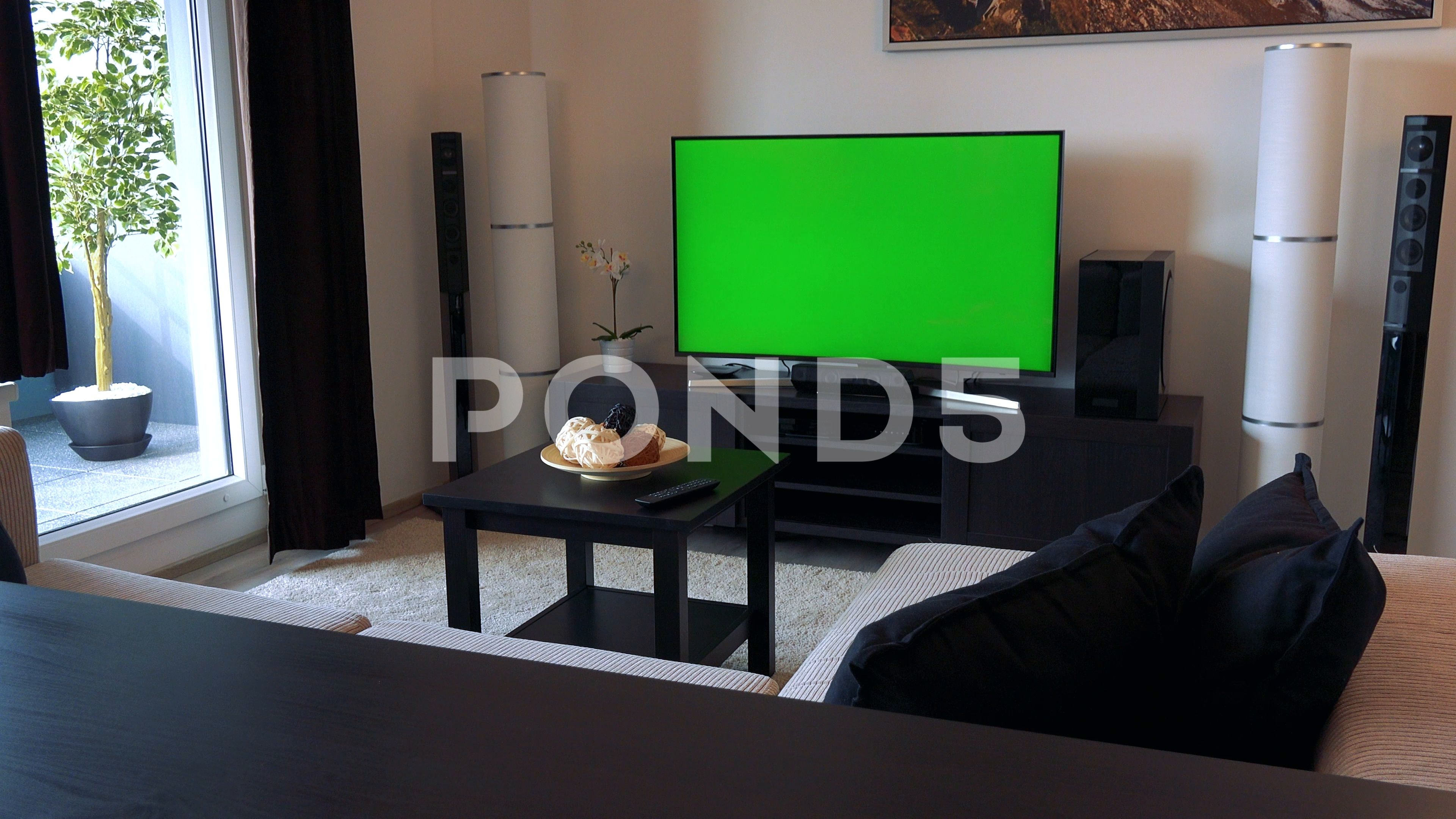 A Tv With A Green Screen In A Living Room Stock Footage Ad Screen Green Living Tv Greenscreen Screen Green Living