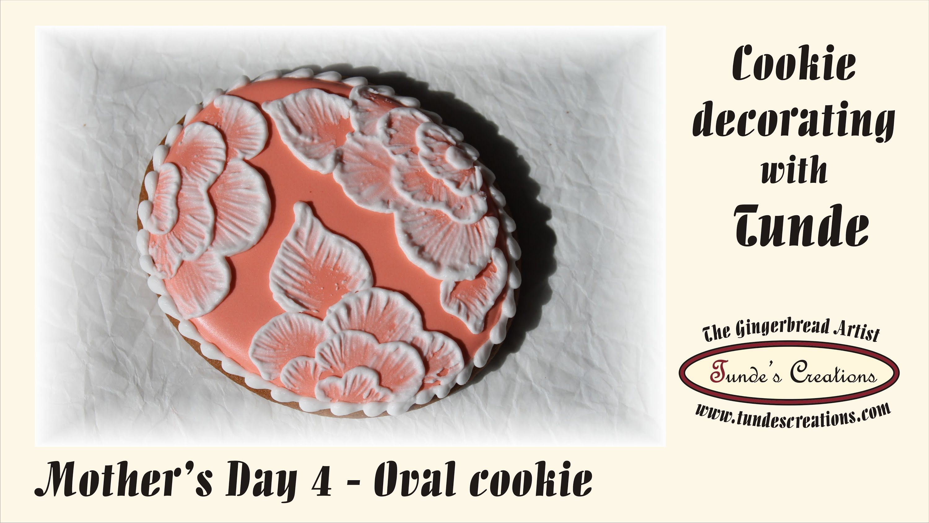 Brush embroidery on oval cookie, Mother's Day Set 4