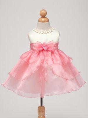 Ivory/Coral Satin Bodice w/Layered Organza Bottom Baby Dress