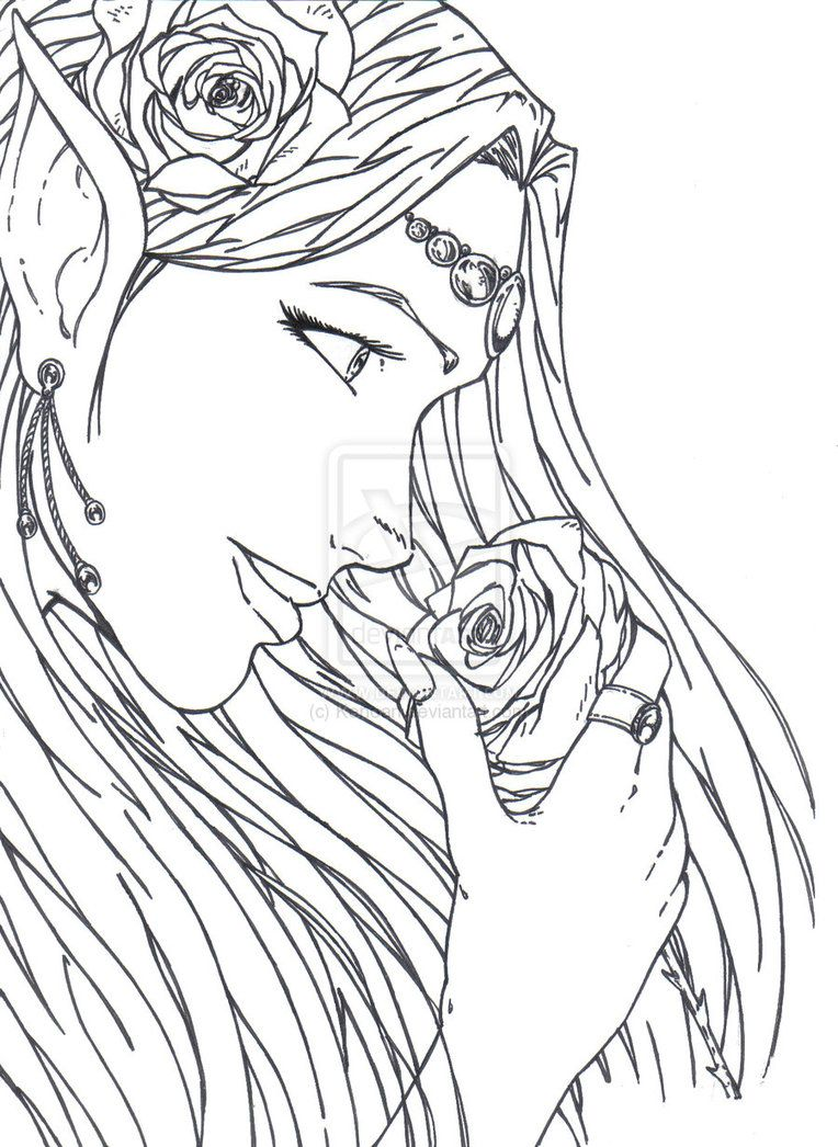 Elf Warrior Coloring Page | The Goddess Of Elves By Kenoan ...