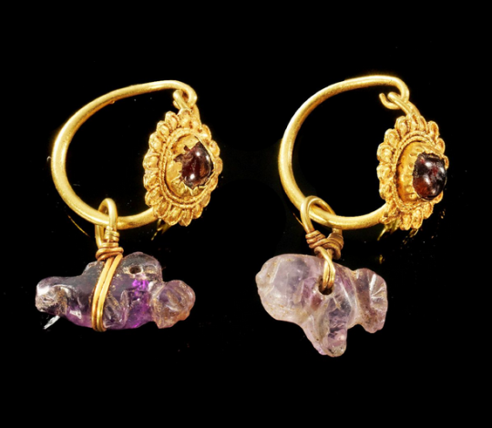 Ancient Meval History Egyptian Gold Garnet And Amethyst Earrings Ptolemaic 1st
