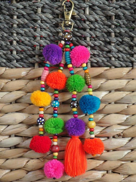 Tassels PomPom Bead Keychain – Bag Charm – BOHO Chic- Bright Orange tassel – Pink Green Blue Purple Red Yellow Orange Pompom Zipper Pull