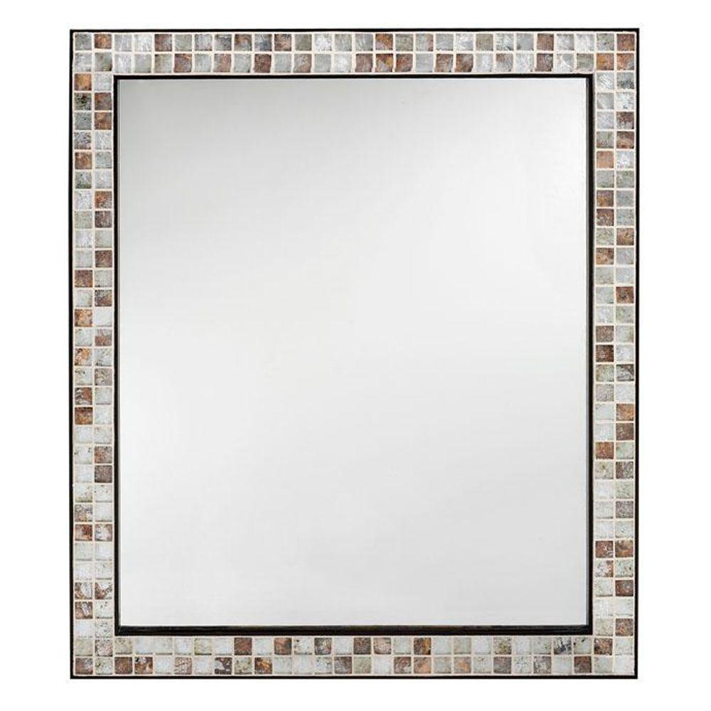 Briscoe 28 In W X 33 In L Wall Mirror In Espresso Marble Tile