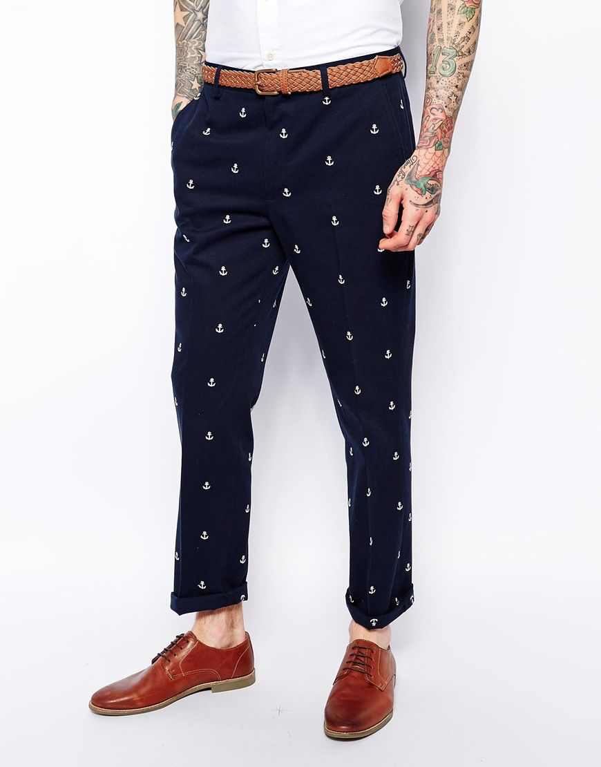 c1eb36f4eed5 ASOS Slim Fit Smart Trousers With Anchor Design | Nice Pieces | Slim ...