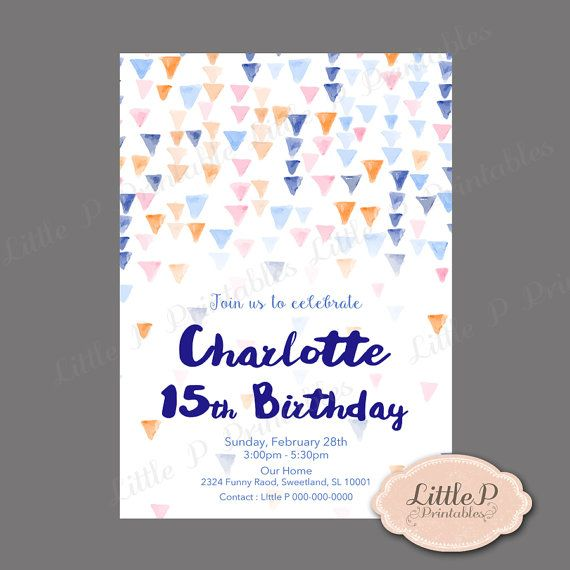 15th Birthday Invitation Triangle Geometric Birthday Invitation – 15th Birthday Invitation