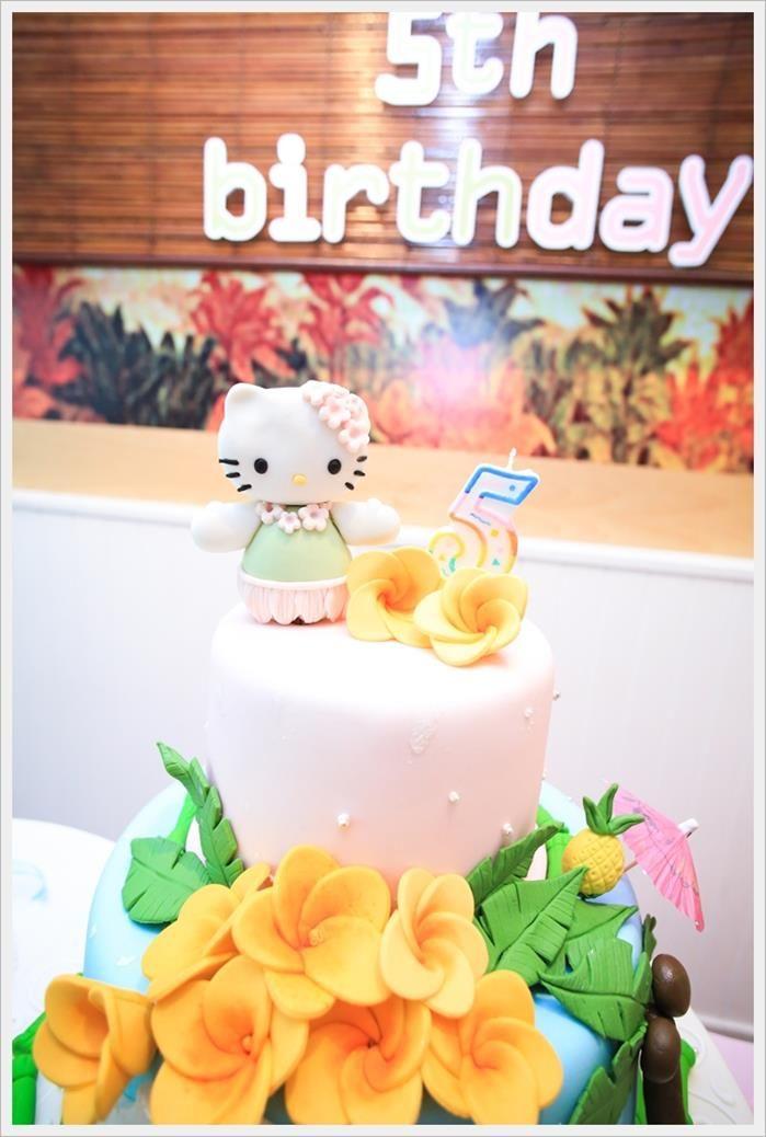 e71341dac Cake at a Hawaiian Hello Kitty Party with So Many Cute Ideas via Kara's  Party Ideas | KarasPartyIdeas.com #HelloKitty #PartyIdeas #PartySupplies  #cake