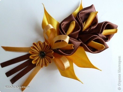 SMALL CALLA LILY TUTORIAL Master Class Decorating Tsumami Kanzashi: calla, what I see them with ribbons.  Photo 1