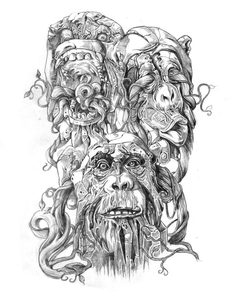 bad ass version of the three wise monkeys tattoo. Black Bedroom Furniture Sets. Home Design Ideas