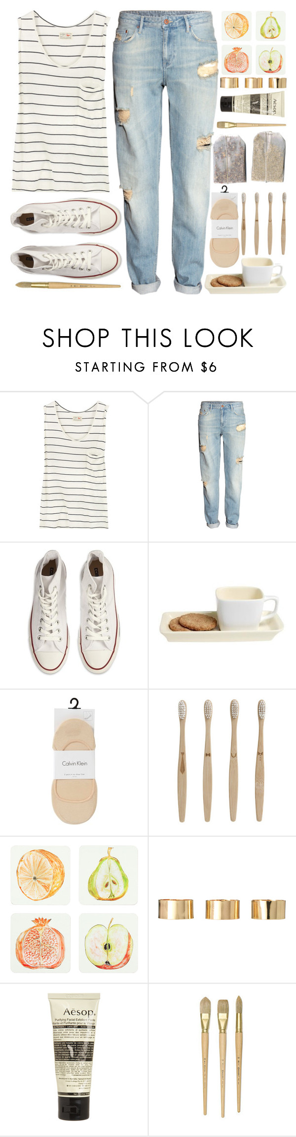 """""""Converse"""" by berina-2000 ❤ liked on Polyvore featuring Aubin & Wills, H&M, Converse, Calvin Klein, ferm LIVING, Zara Home, ASOS and Aesop"""