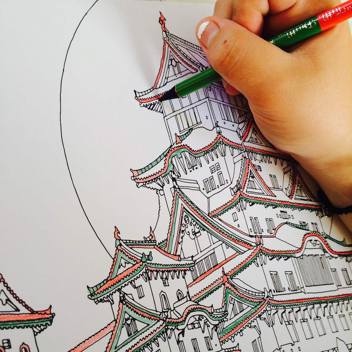 Spend A Summer Afternoon With Fantastic Cities Coloring Book And Tutti Frutti Rainbow Colored