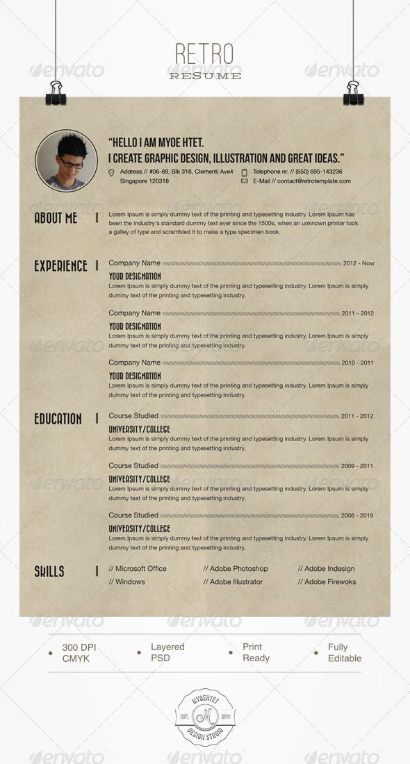 Retro Resume   Stationery templates  Template and Cv resume template Retro Resume