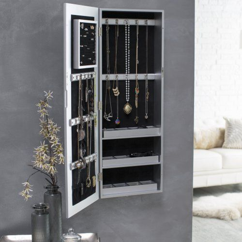 Belham Living Hollywood Mirrored Locking WallMount Jewelry Armoire