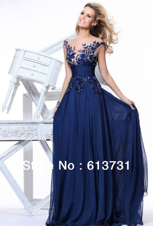 See Through Cap Sleeves Sequins Lace Navy Blue Long Prom Dresses ...