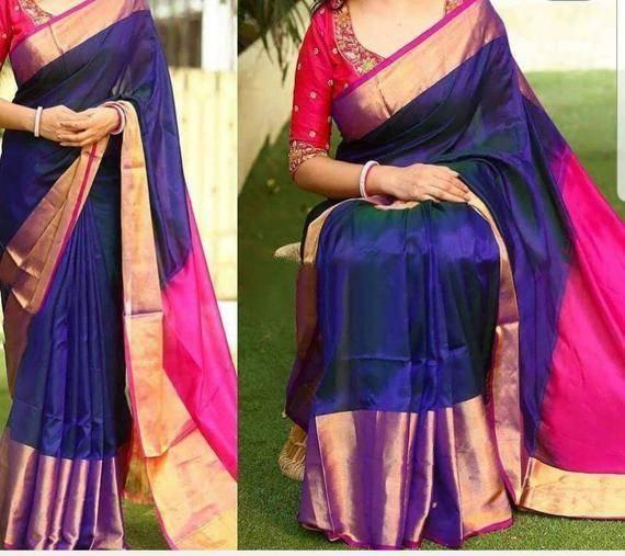 Photo of Uppada Dark Blue Color Big Border Silk saree