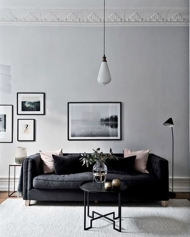 Crisp Monochrome Black And Light Greys Grey Walls Living Room Minimalist Living Room Black And White Living Room