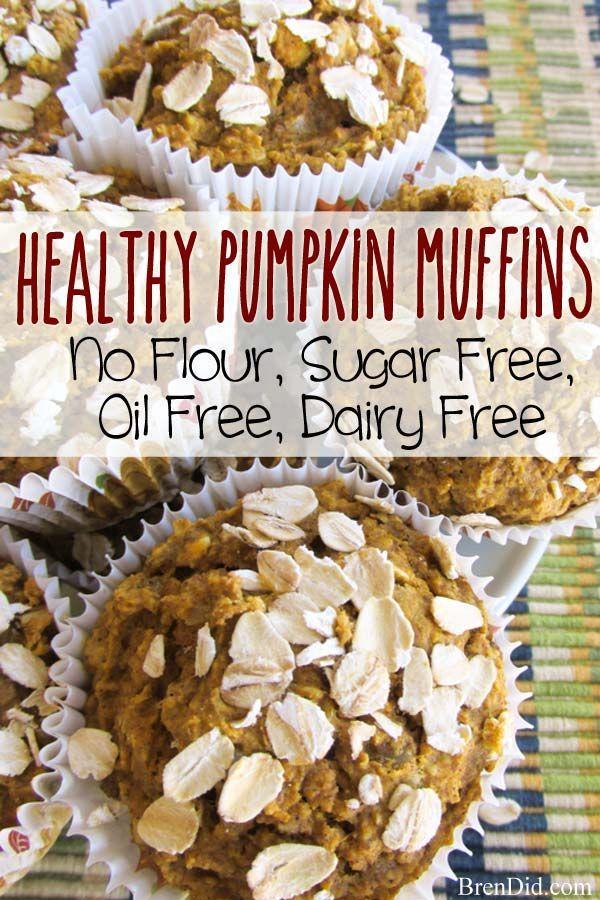 Healthy Pumpkin Muffins Recipe (No Flour, Sugar Free, Oil Free, Dairy Free) #pumpkinmuffins