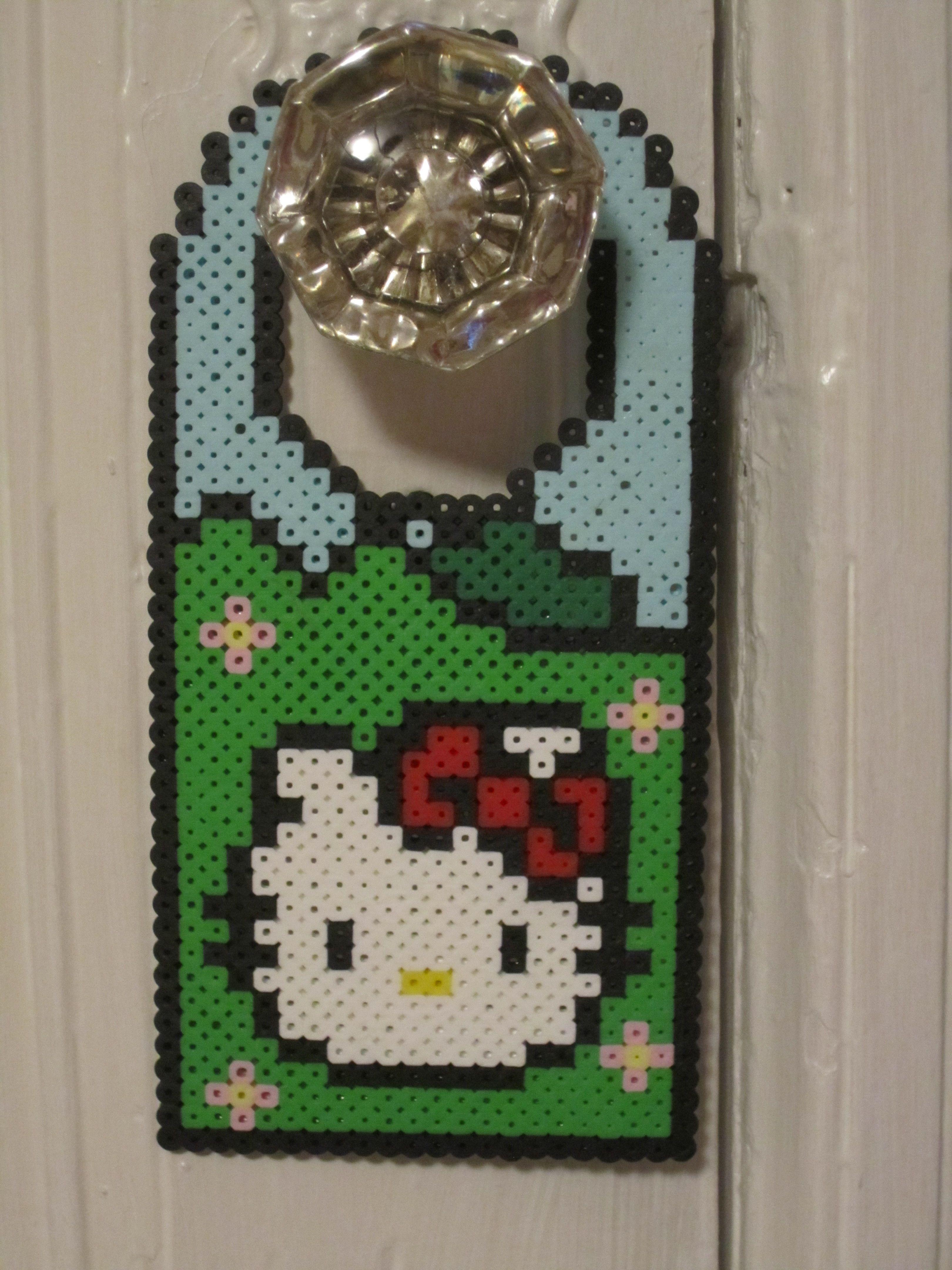 Hello Kitty Door Hanger Perler Beads by Angela Albergo | Perler ...