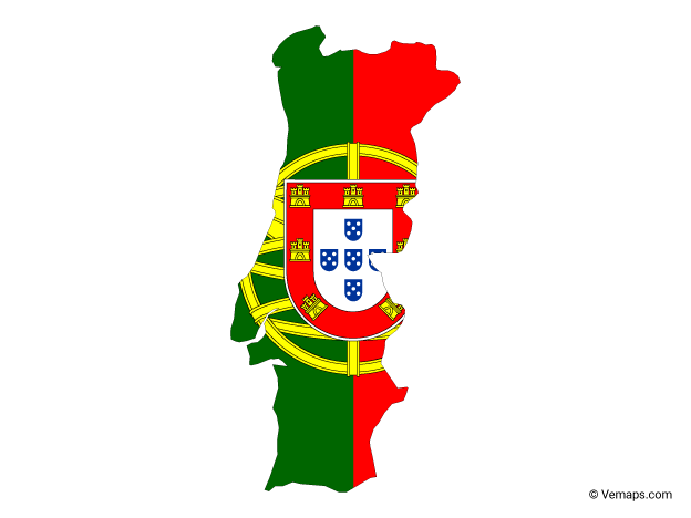 Flag Map Of Portugal Free Vector Maps Portugal Map Map Vector Flag