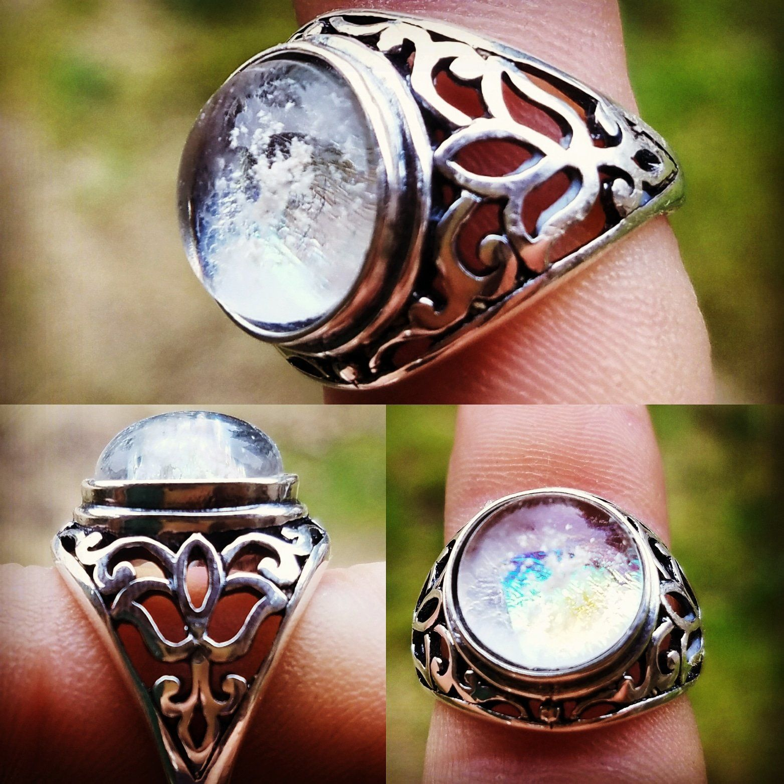 Cremation Jewelry Ring Filigree Lotus Sterling Silver 7,8