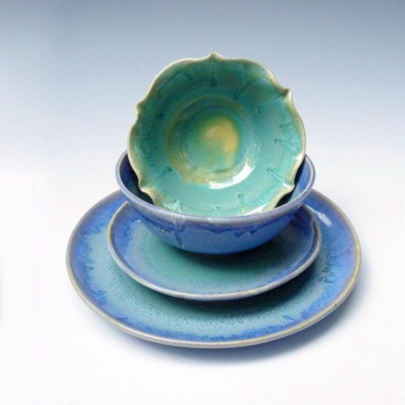 stoneware pottery dinnerware set - Blue Turquoise & stoneware pottery dinnerware set - Blue Turquoise | Gifts for geeks ...