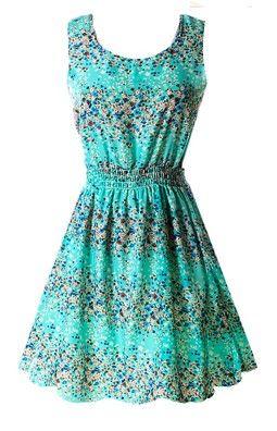 Turquoise floral chiffon sleeveless sundress