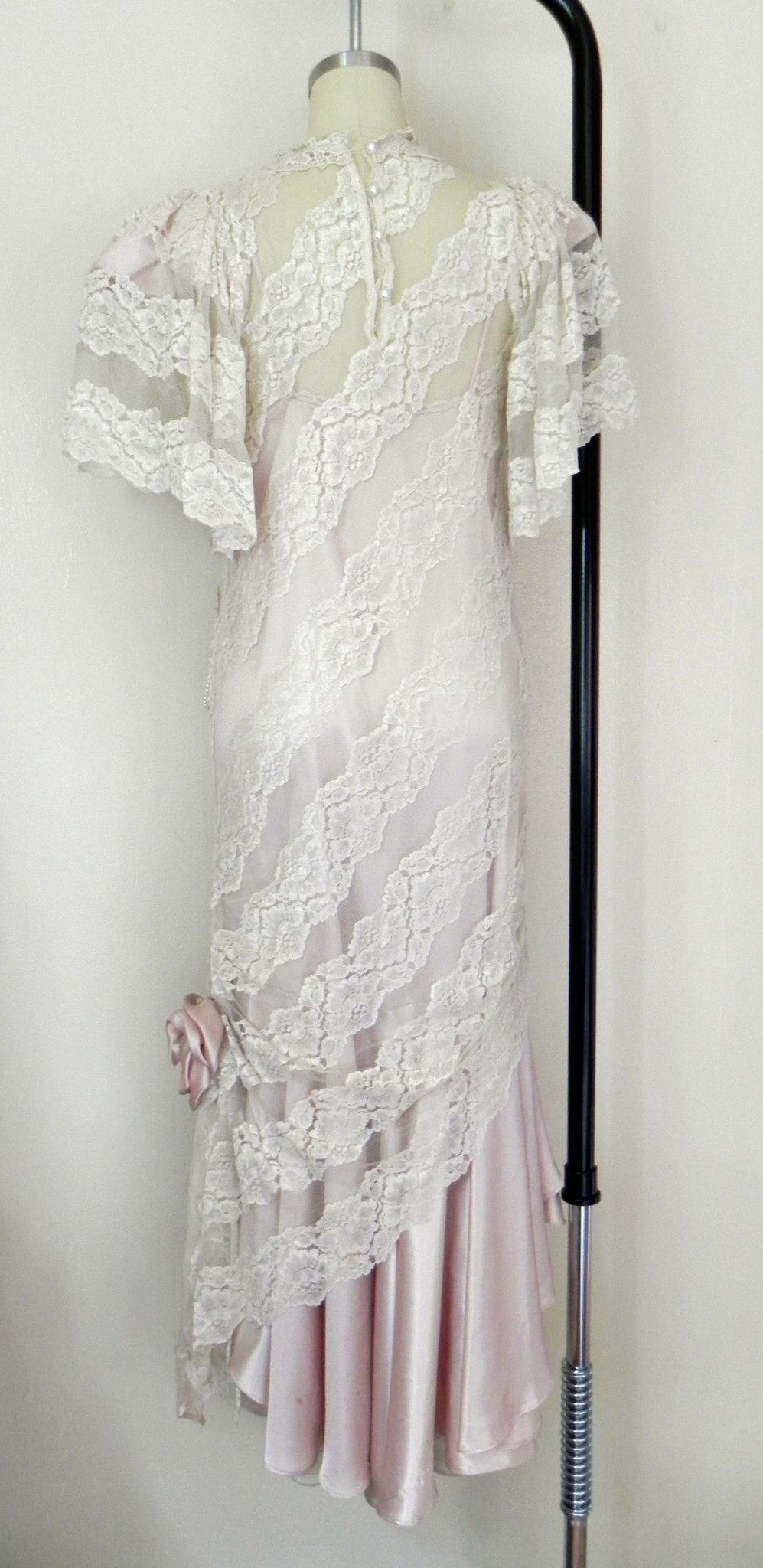 Vintage lace white pink wedding dress formal party dress