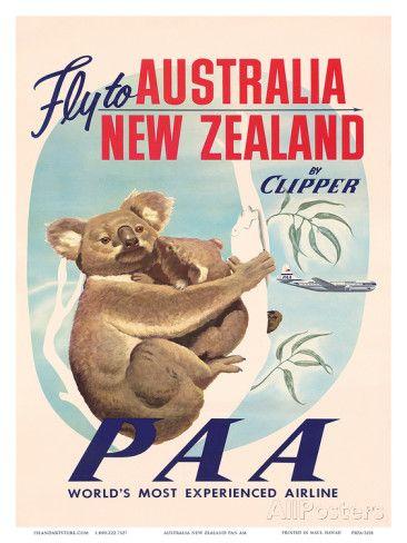 Fly To Australia And New Zealand C 1950s Prints New Zealand Plakater Og Tegninger