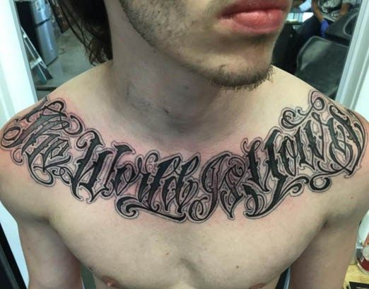 Chest lettering by norm will rise inked inkedmag for Chest tattoo writing