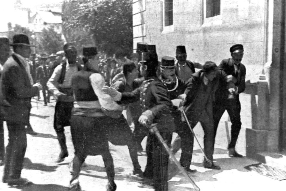 -In this June 28, 1914 file photo, a suspect, second right, is captured by police in Sarajevo, Yugoslavia. Princip fired the shots that assassinated Archduke Franz Ferdinand, heir to the Austrian-Hungarian throne, and his wife Sophie