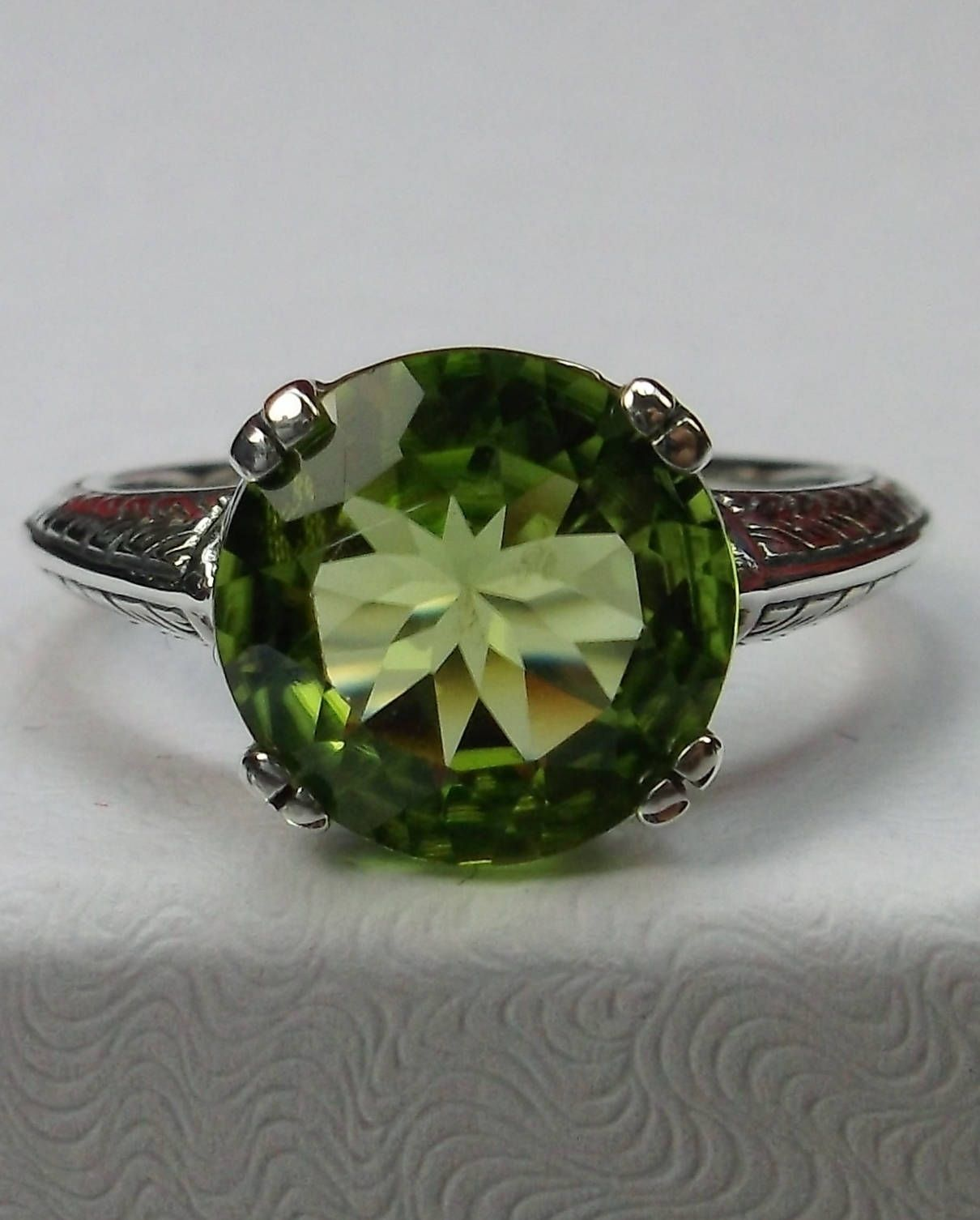 Natural Peridot Ring Green Gemstone Ring Sterling Silver Ring Pear Shape Green Peridot Gemstone Silver Ring Vintage Gift Ring For Her