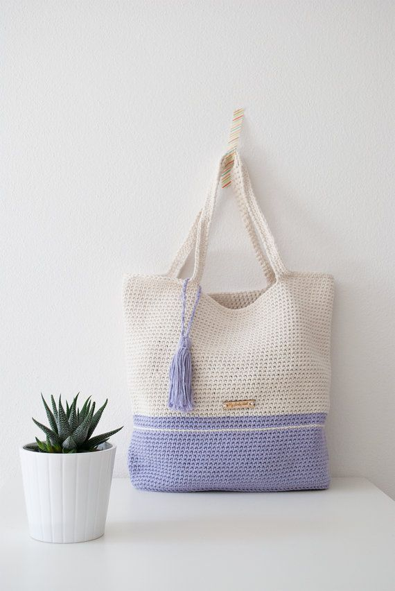 Crochet bag My Lovely Bag Venice lilac and cream di MyLovelyHook ...