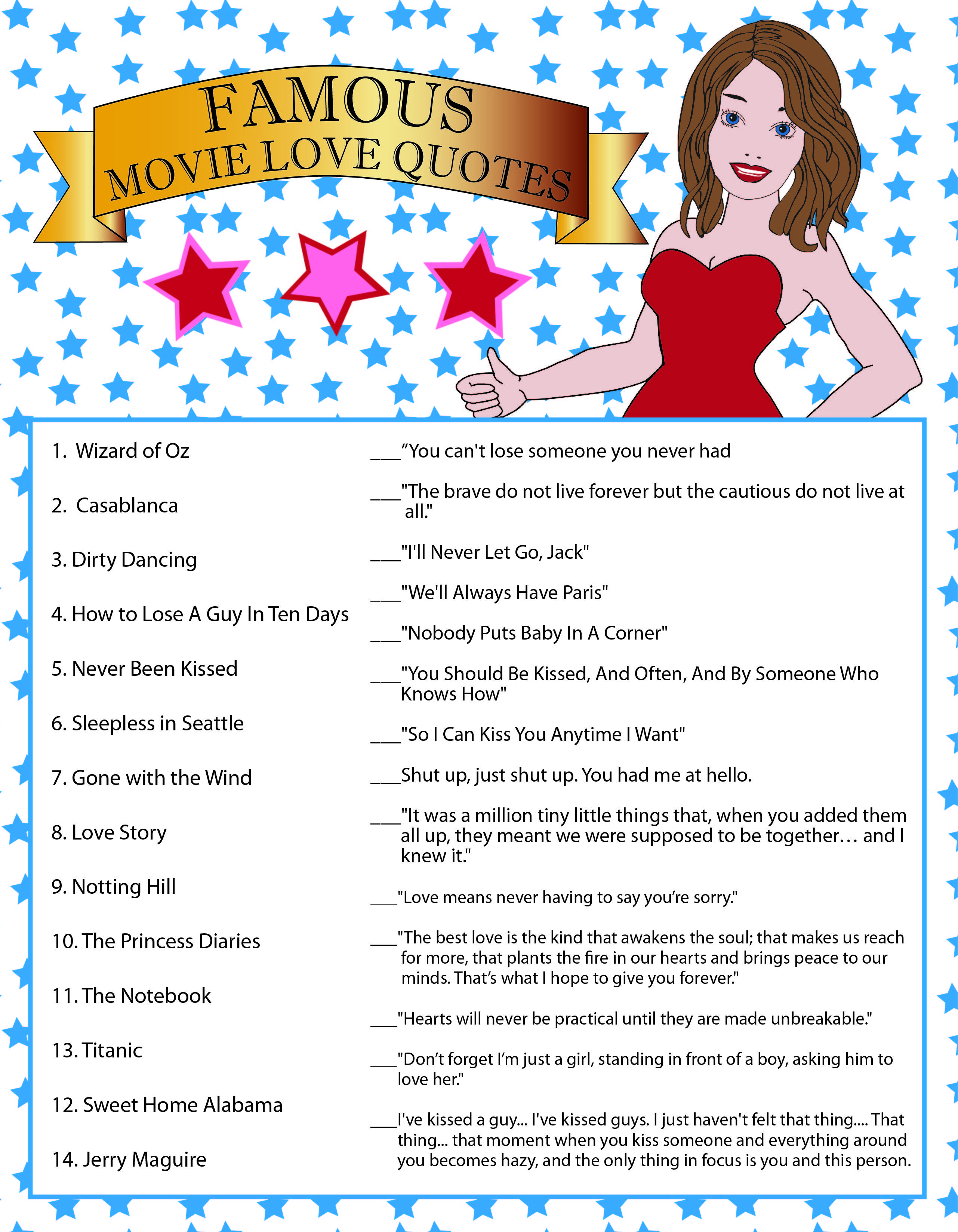 Famous Movie Love Quotes, Bridal Shower Game, Blue Stars