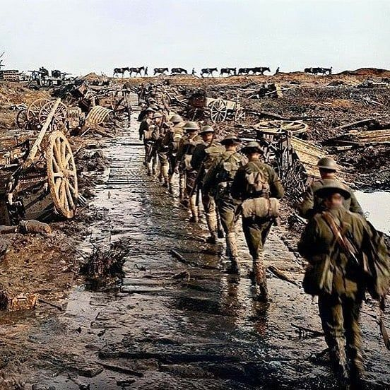 "@ww1_history_pictures's Instagram post: ""Soldiers of the Australian 5th Battalion as they move up to the front lines in 1918, in Ypres, Belgium. • The 5th Battalion was…"""