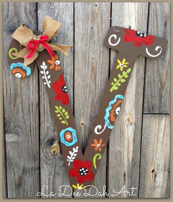 Monogram Letter Initial Door Decor Door Art Spring Summer