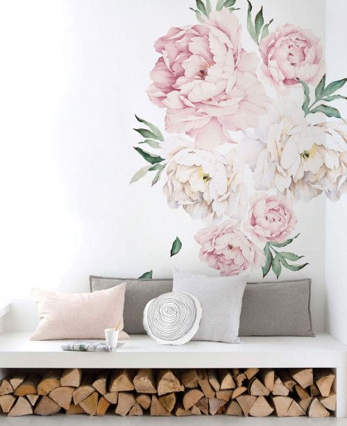 Peony Flowers Wall Stickers Vintage Pink Peonies Wall Art Wall