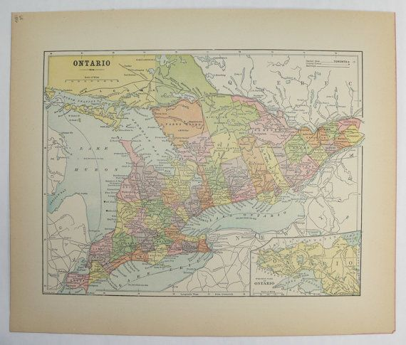 Vintage Map Ontario Canada Map Great Lakes Map 1896 Antique